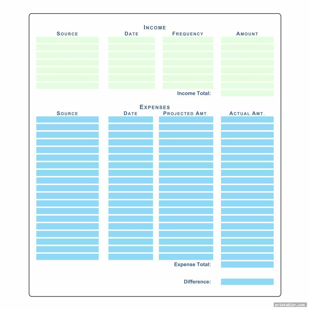 Printable Yearly Expense Chart