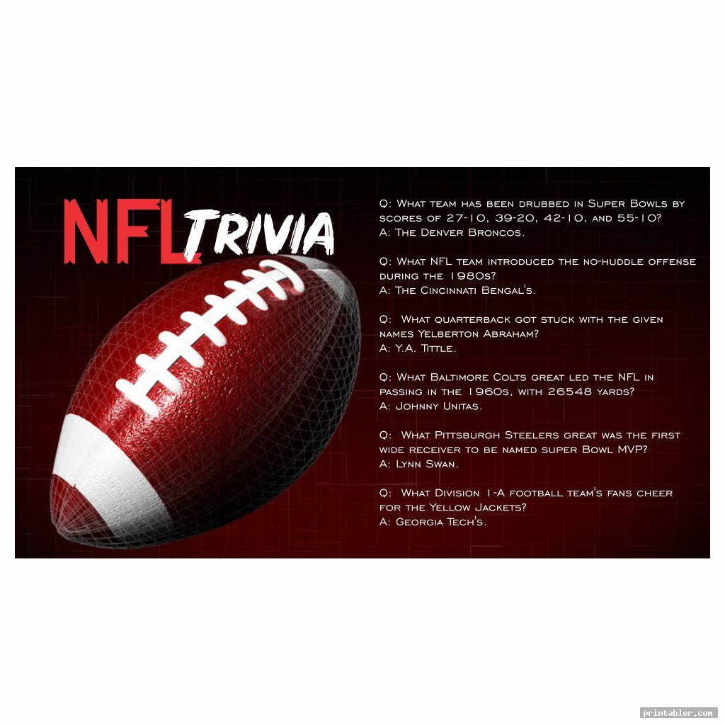 red printable nfl trivia questions and answers