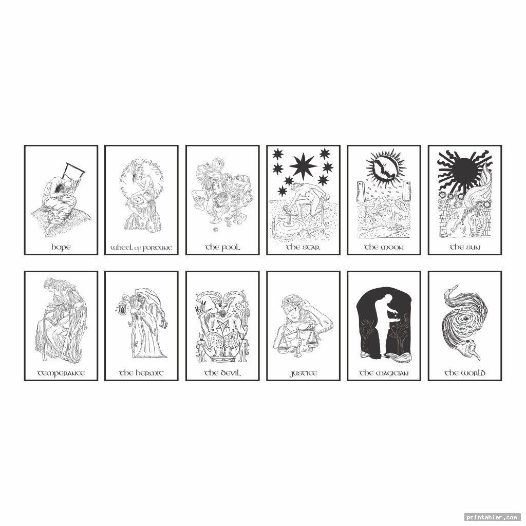 retro color yourself tarot cards printable