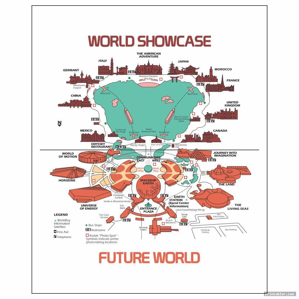 retro walt disney world map printable