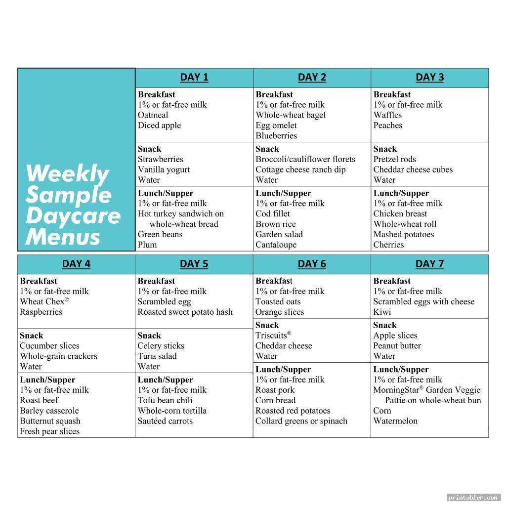 Sample Daycare Menus Printable
