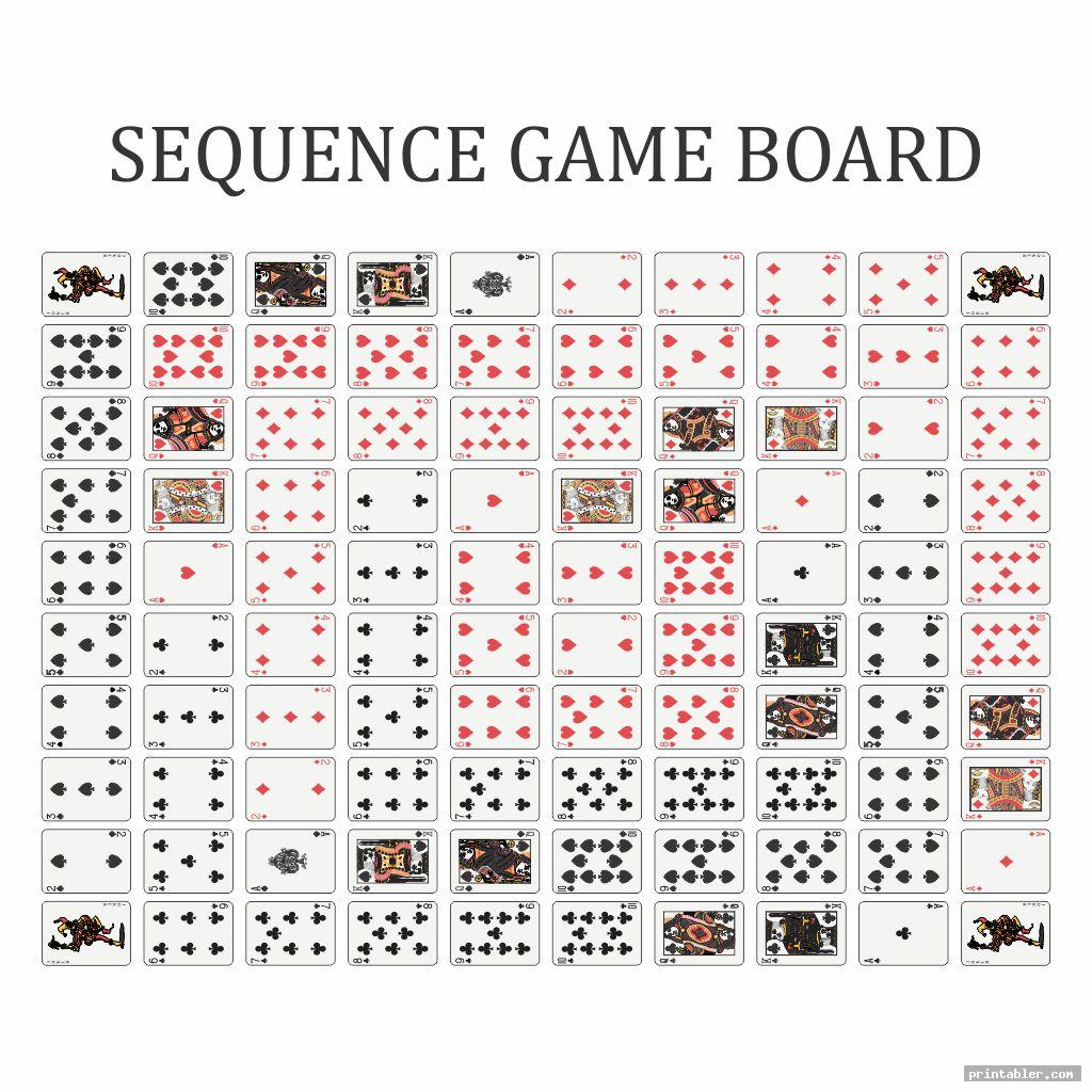 sequence board game printable template for use