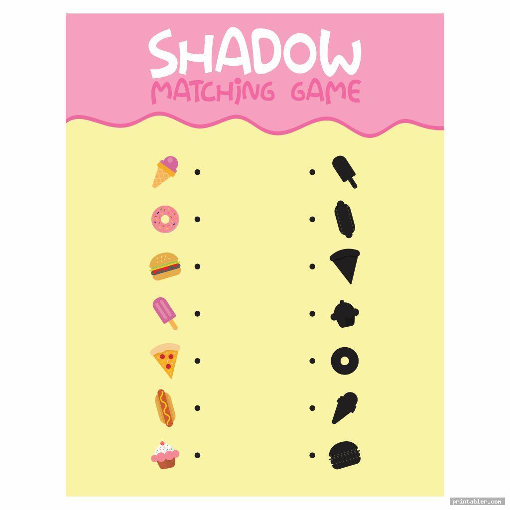 shadow food memory game printable