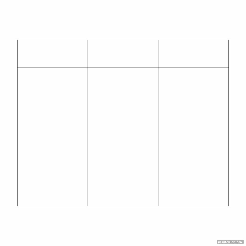 simple 3 column chart printable templates