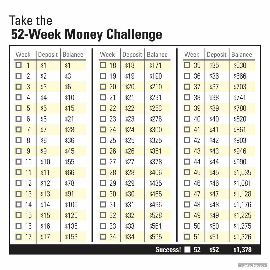 simple bi weekly money challenge printable
