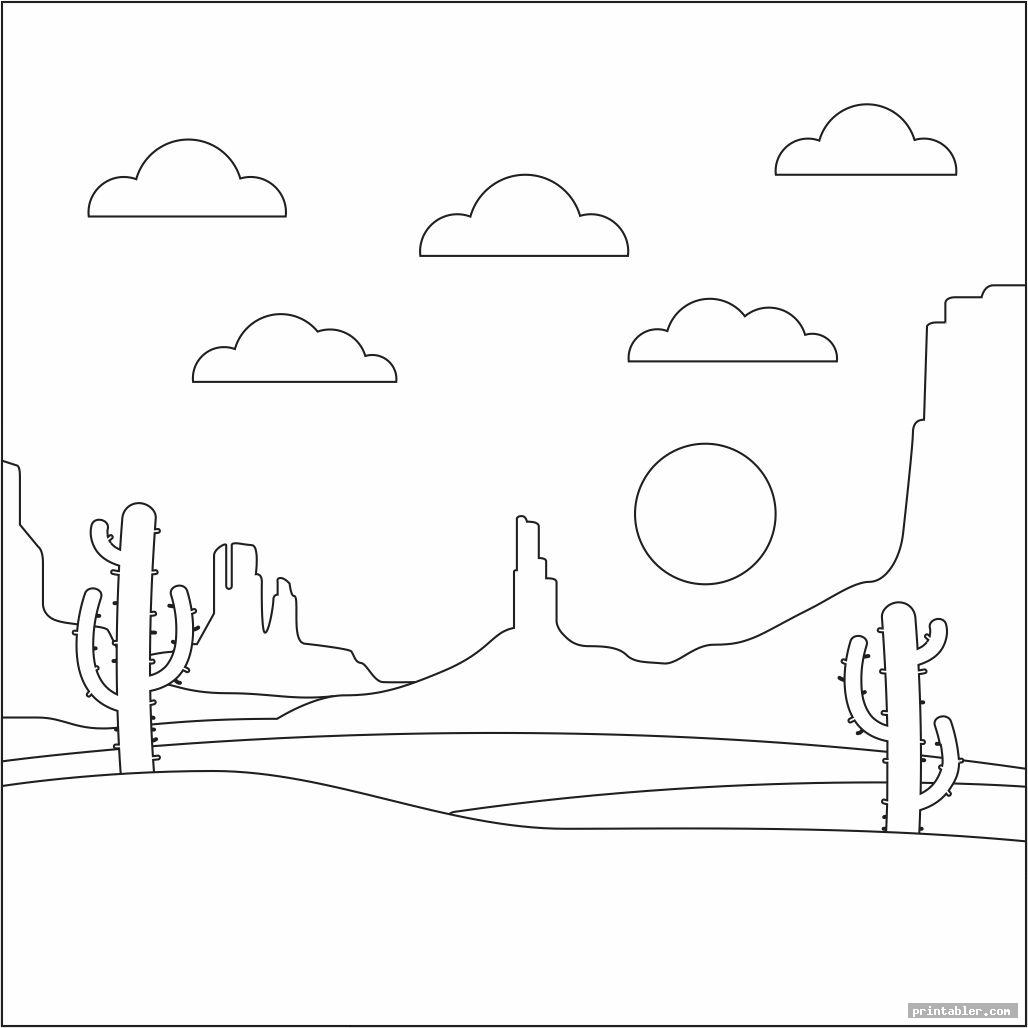 simple desert coloring pages printable