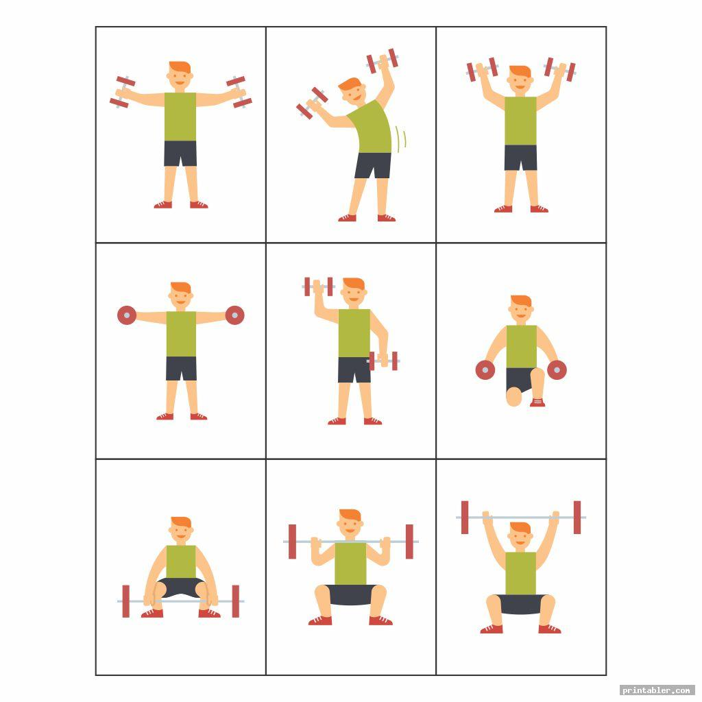 simple dumbbell exercises chart printable pdf
