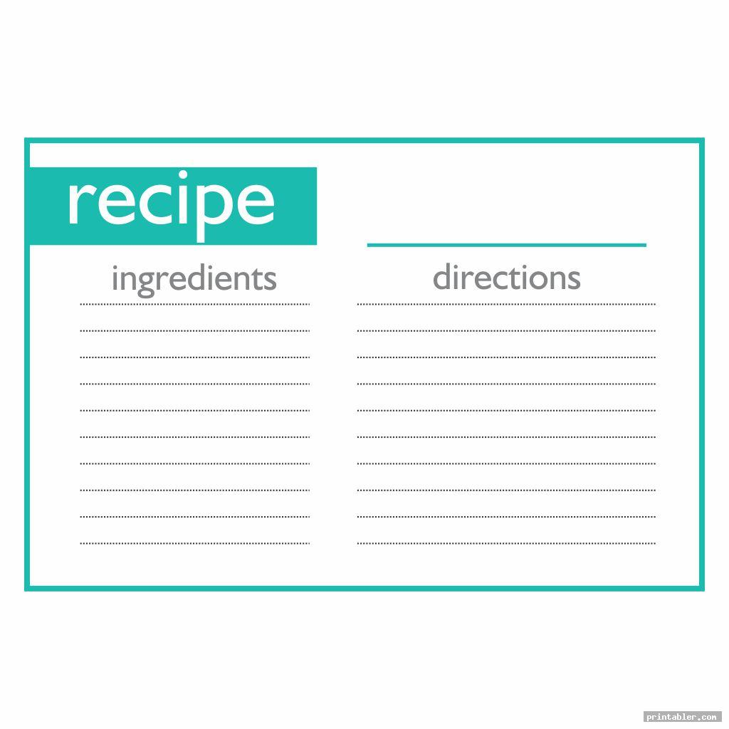 Full Page Printable Recipe Cards