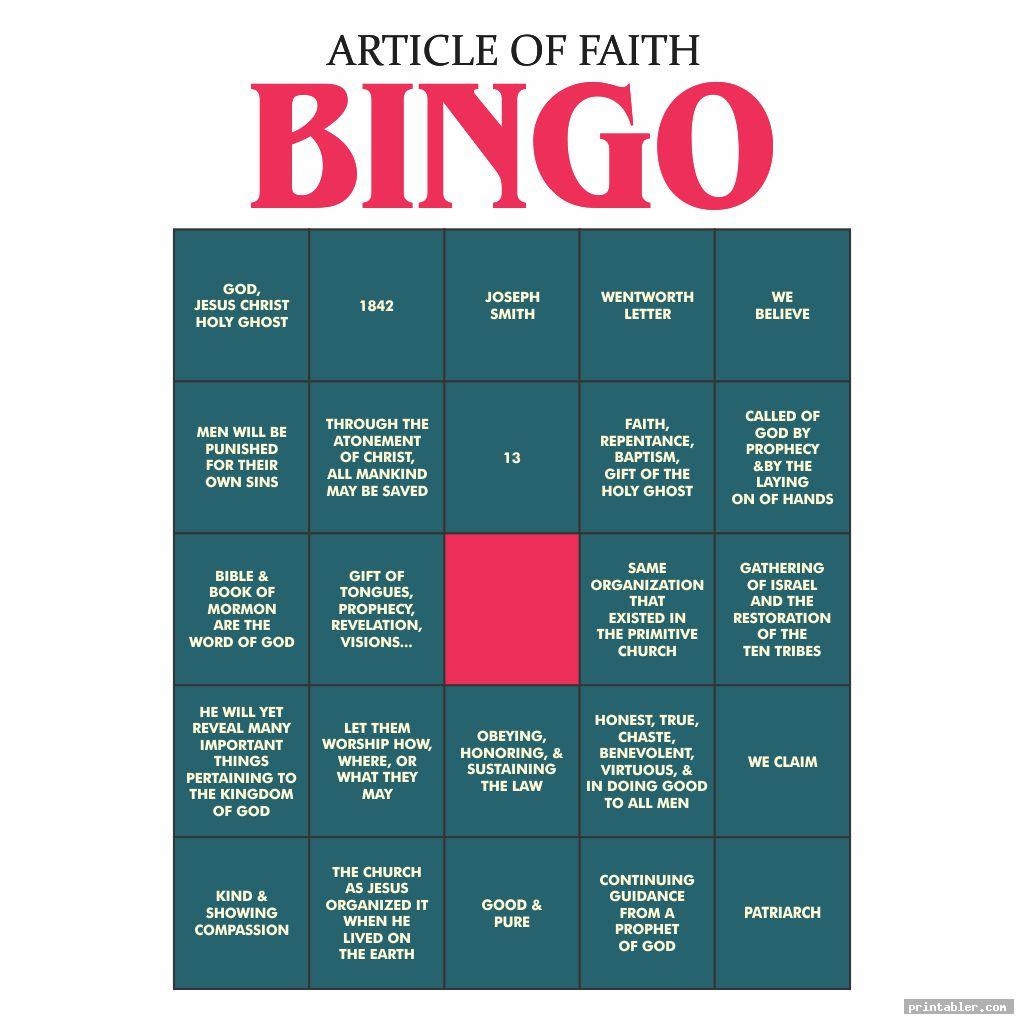 simple games article of faith printables