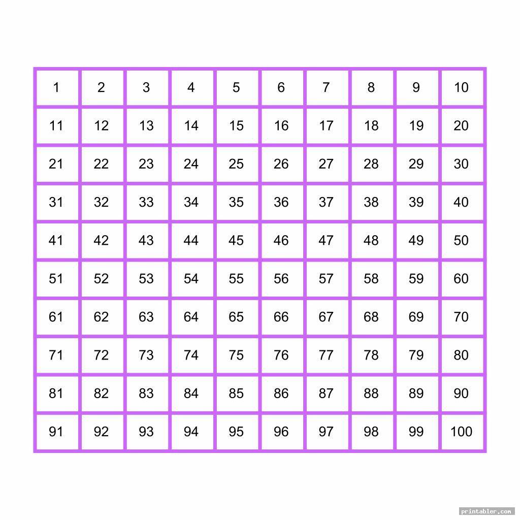 simple hundreds chart printable pdf