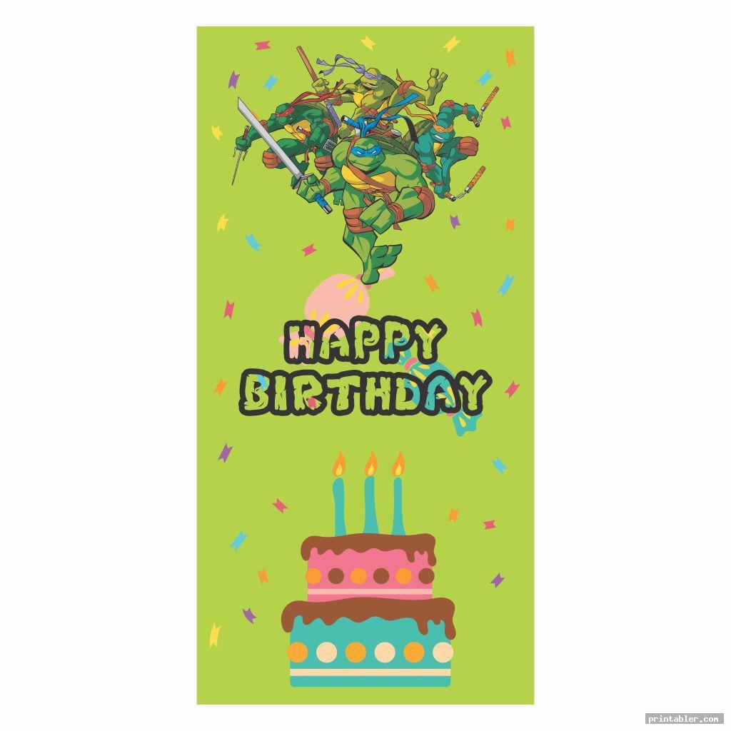 simple ninja turtle happy birthday banner printable
