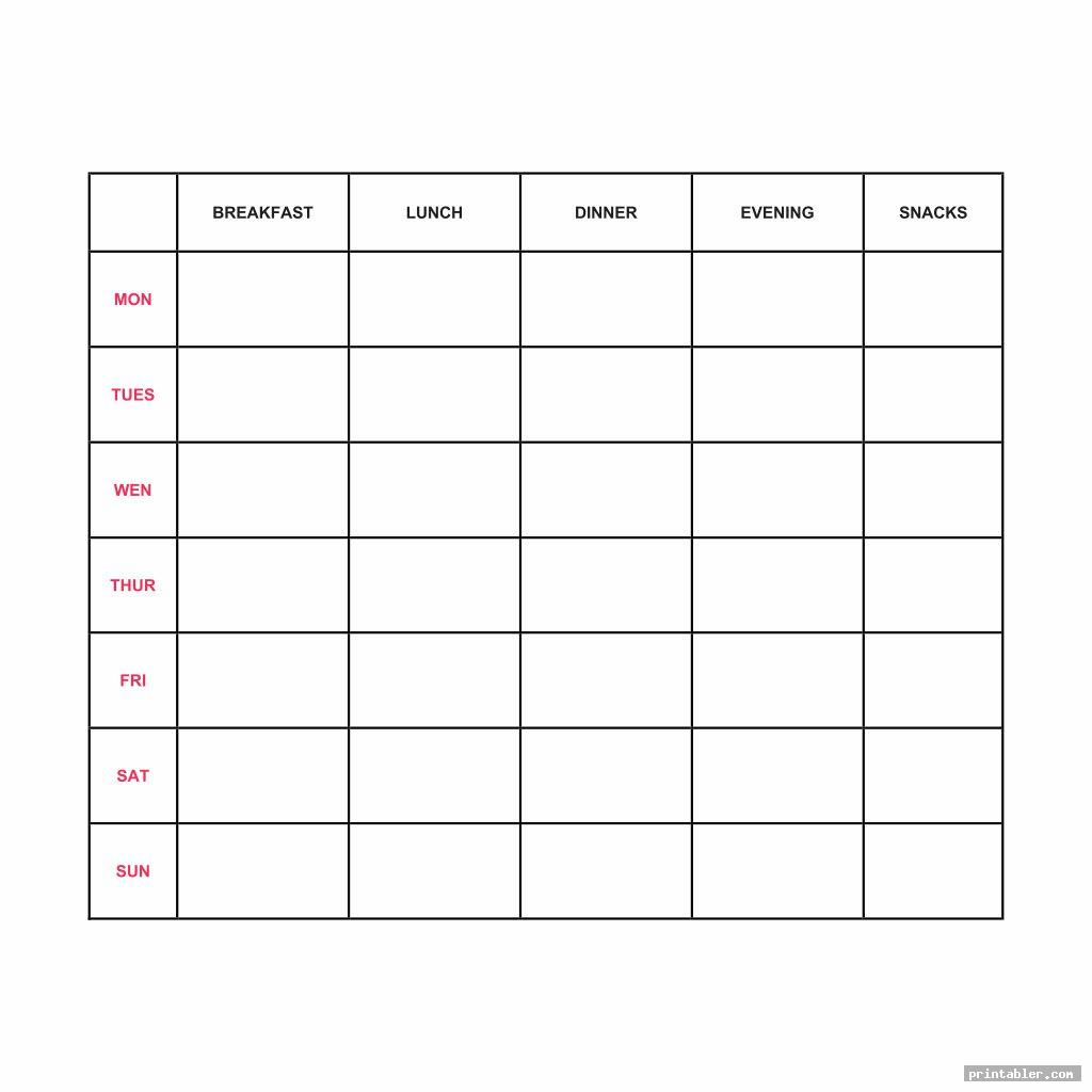 simple printable 7 day food log 5 meals a day