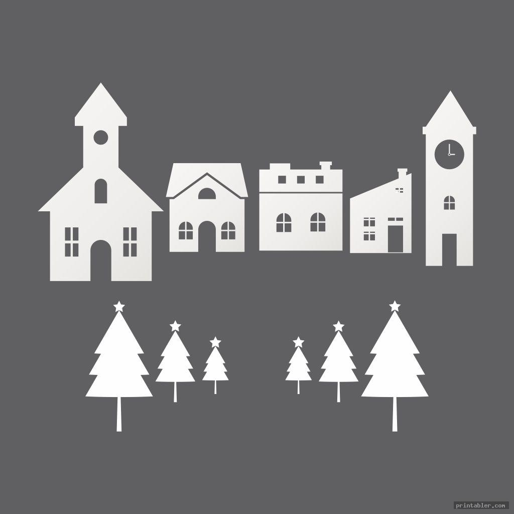 simple printable christmas village houses