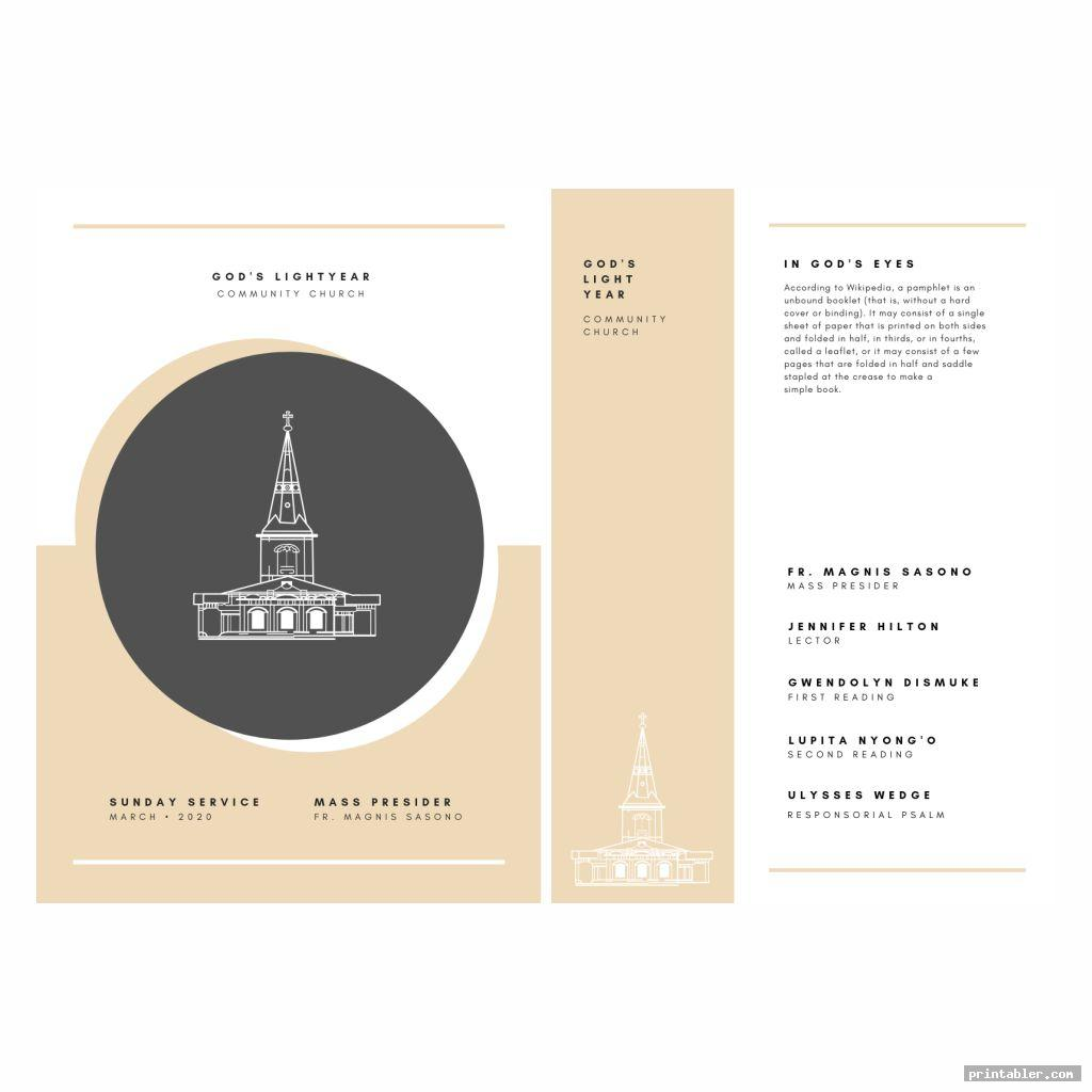simple printable church program design