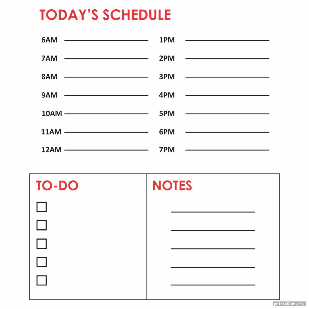 simple printable daily hourly calendar template