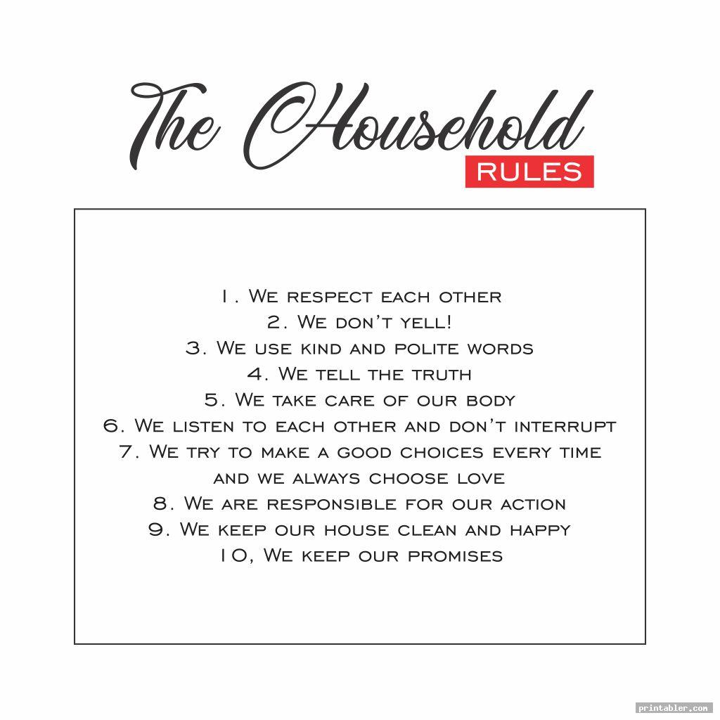 simple printable household rules