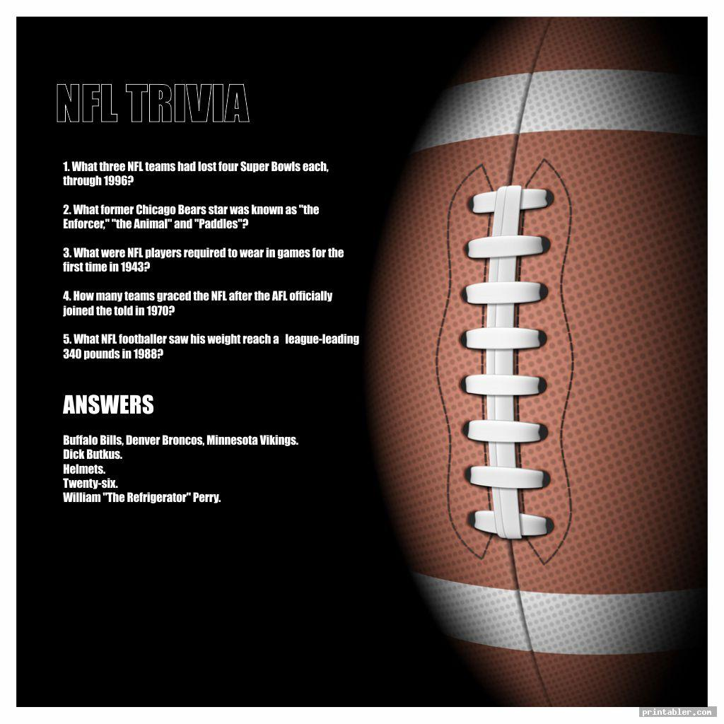 simple printable nfl trivia questions and answers