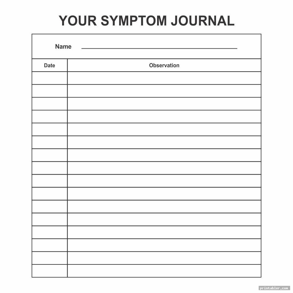 simple printable symptom journal
