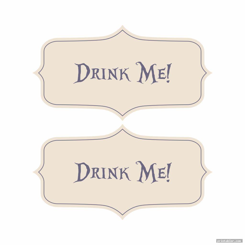 simple printable tags alice in wonderland drink me