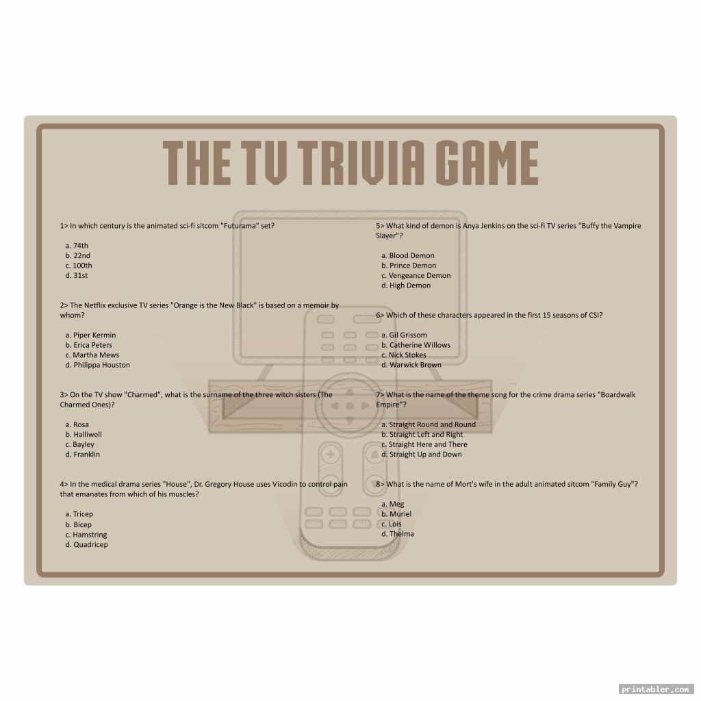 simple printable tv trivia games