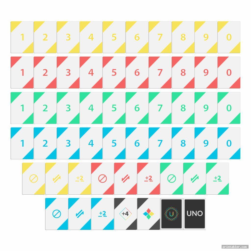 simple printable uno deck