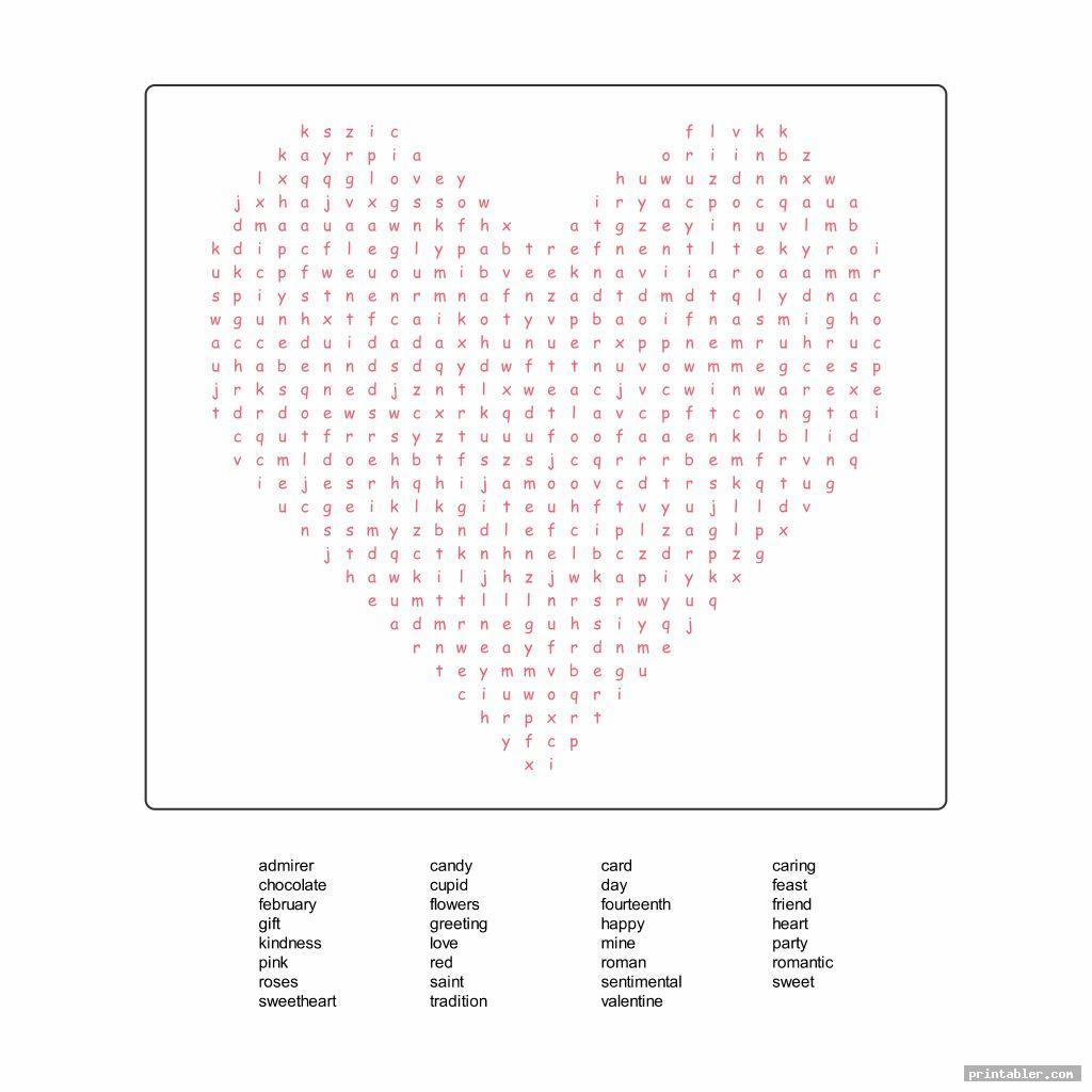 simple printable valentine s word search pdf