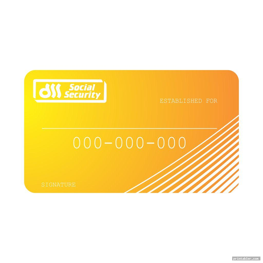 simple social security cards printable
