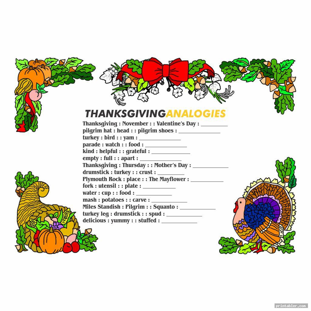 Thanksgiving rain Teasers Printable