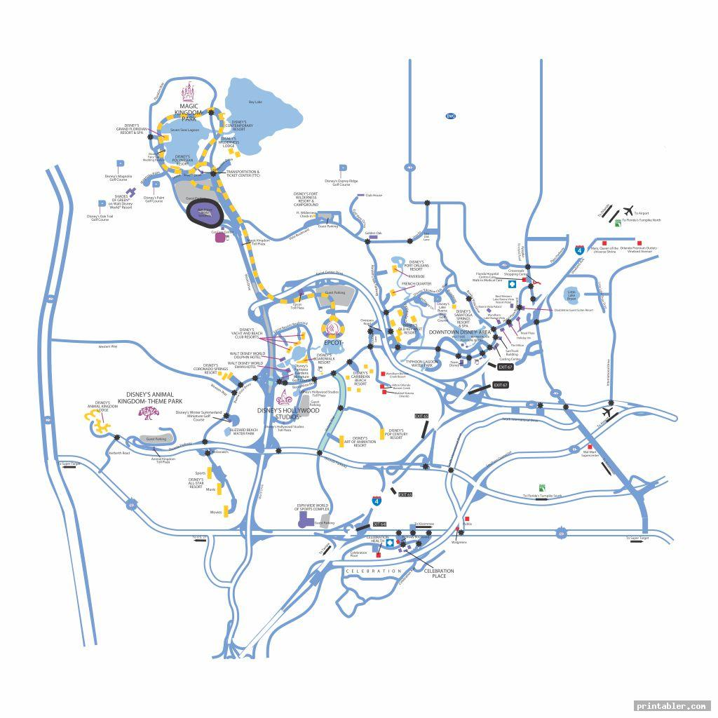 simple walt disney world map printable