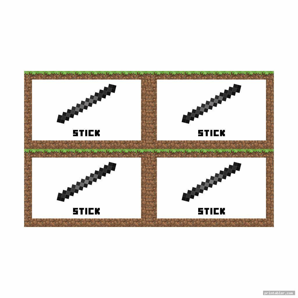 steel sticks minecraft party printables