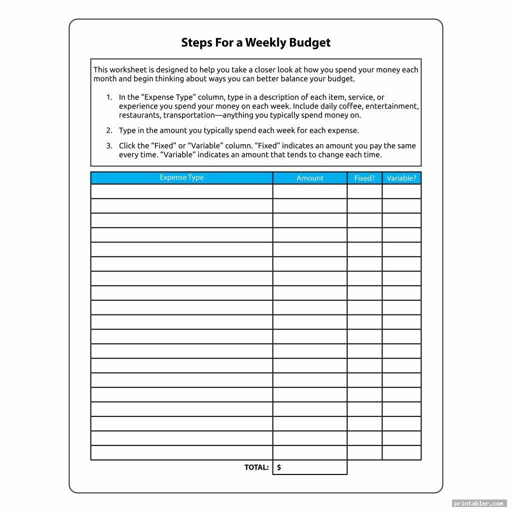 step for weekly budget worksheet printable