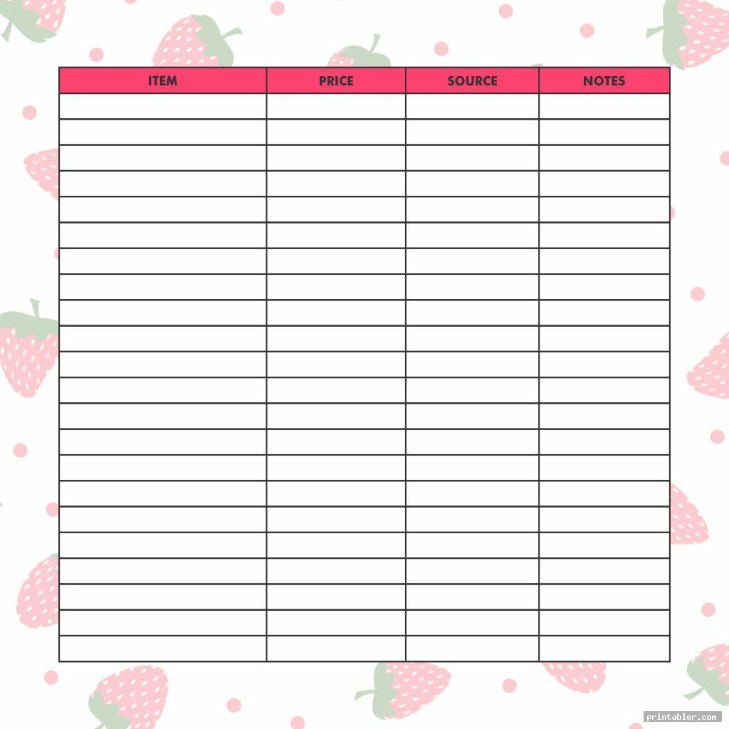 Cute Printable Budget Tracker