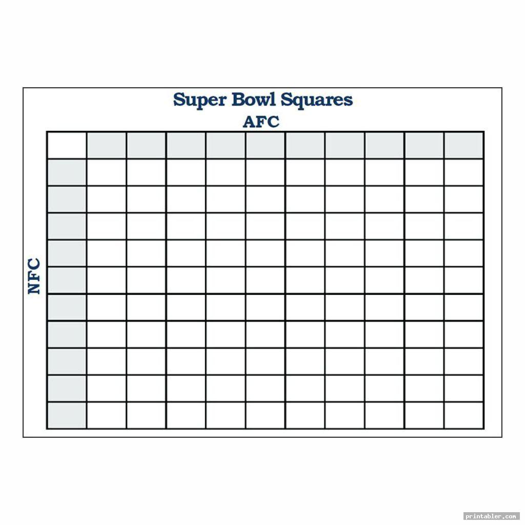 picture regarding Superbowl Board Printable called Tremendous Bowl Soccer Squares Printable -