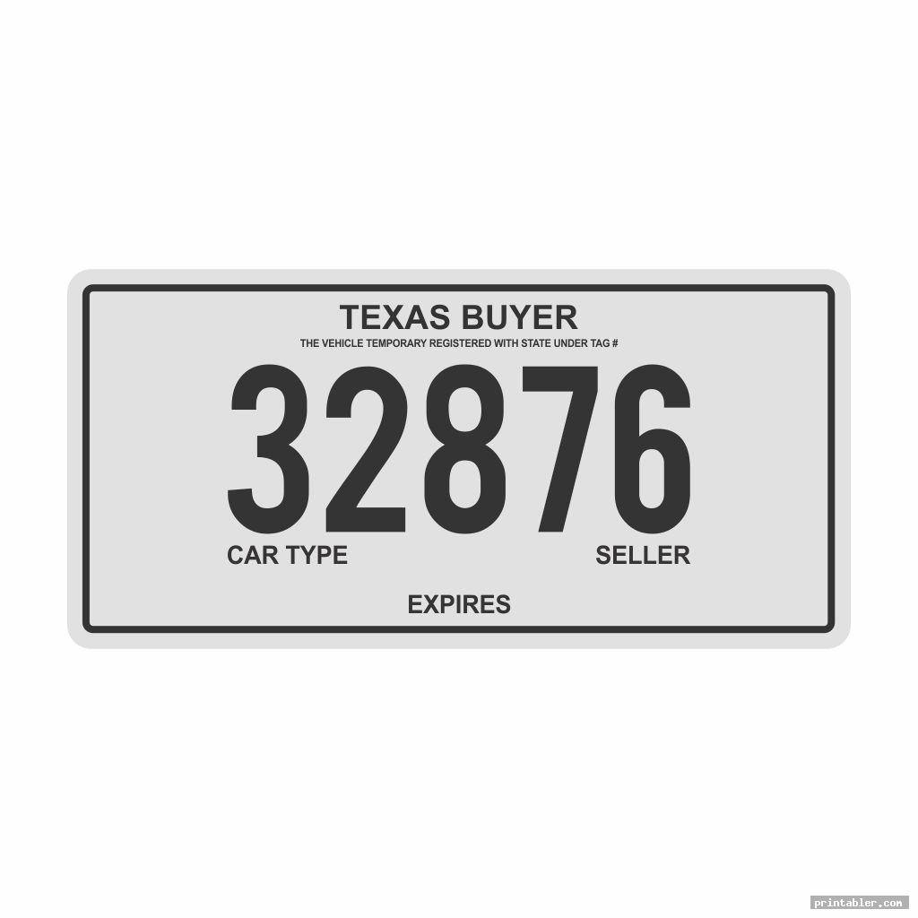 texas temporary license plate printable image free