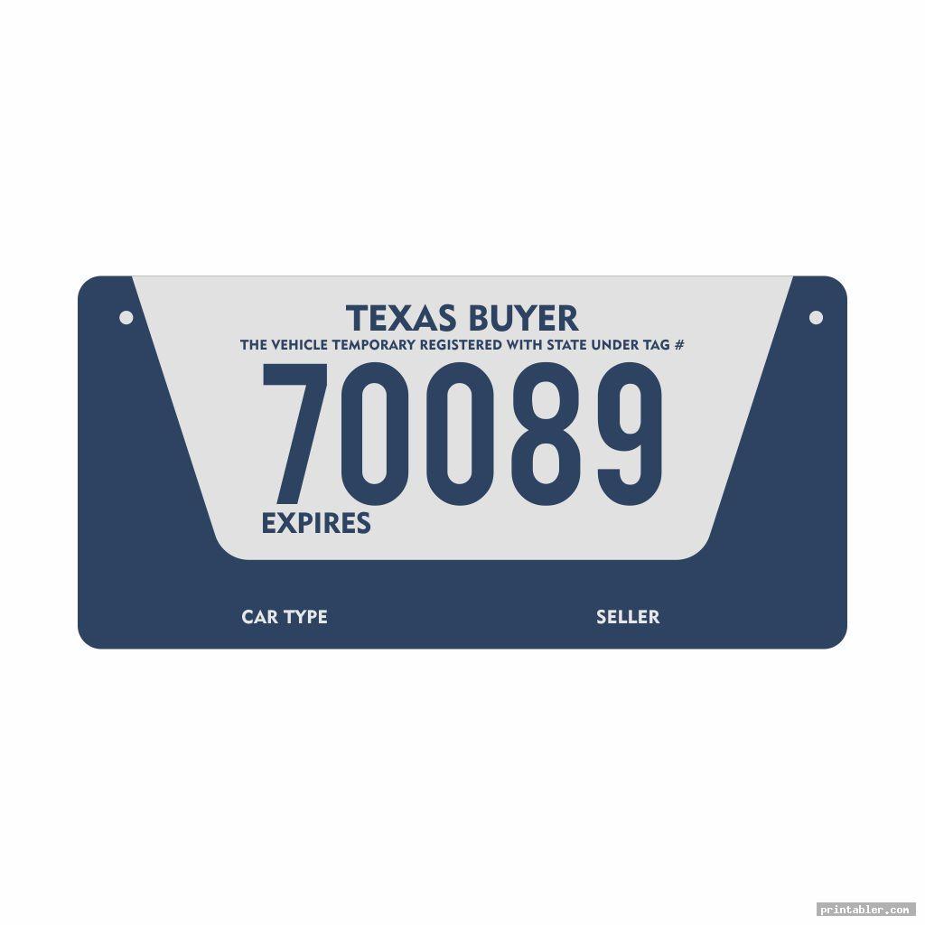 Texas Temporary License Plate Printable
