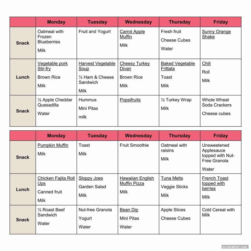 two weeks sample daycare menus printable