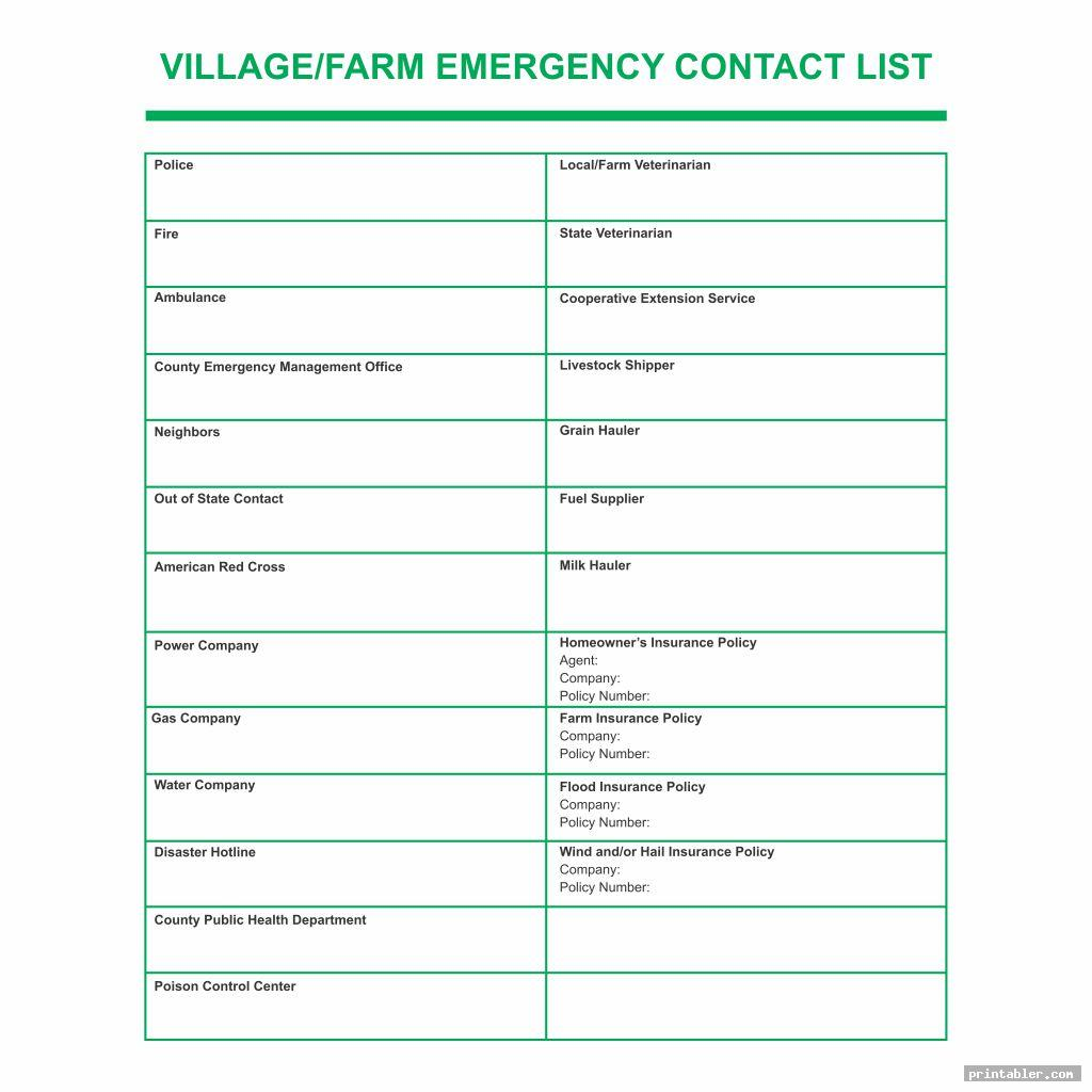 village printable emergency contact list