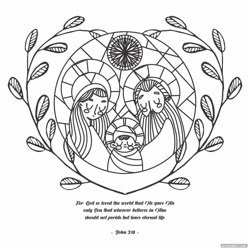 Printable Coloring Page with John 3 16