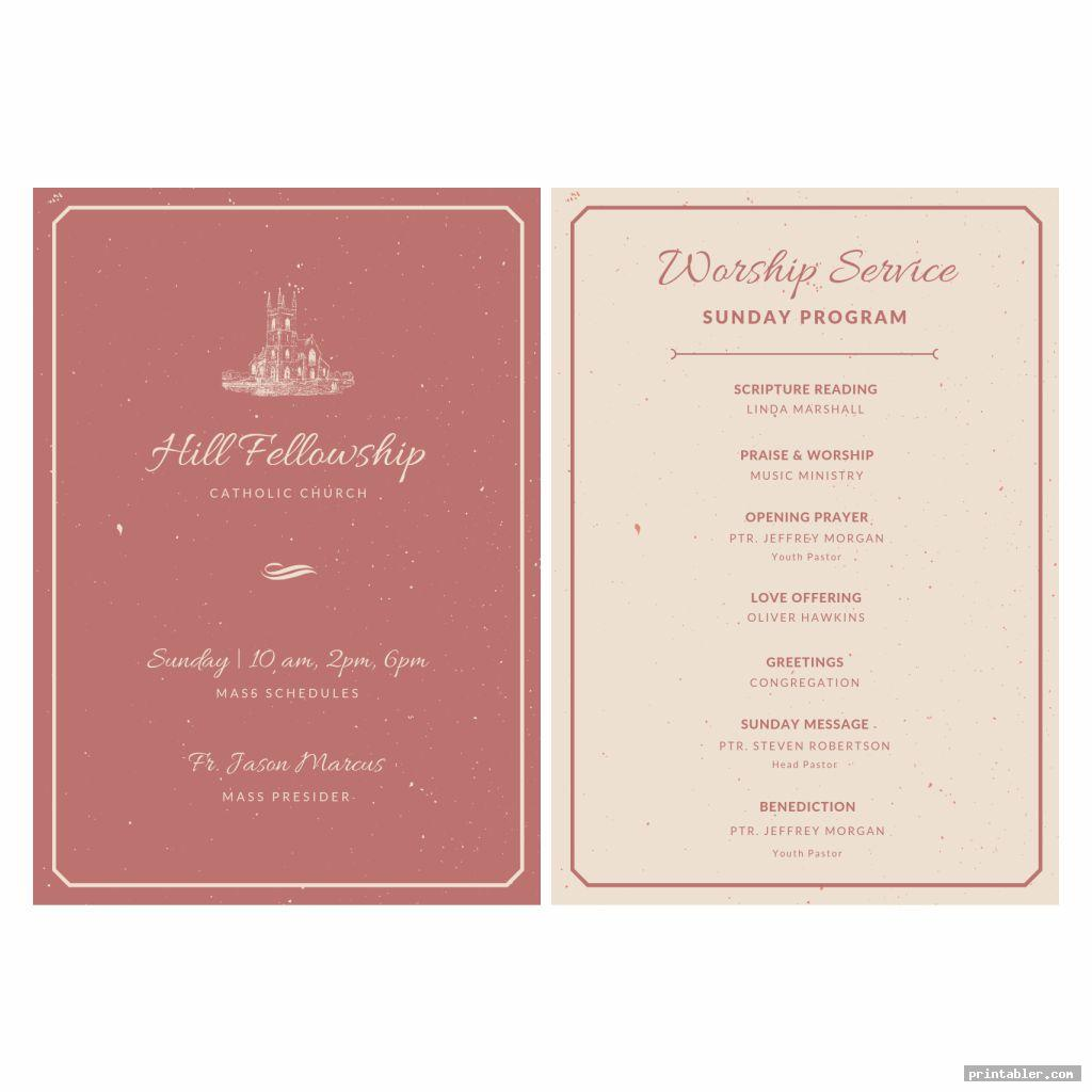 vintage printable church program design