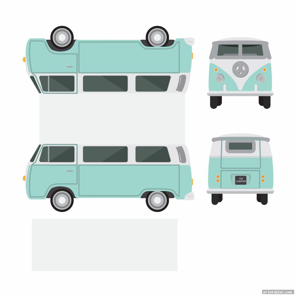 vw bus paper template printable image free