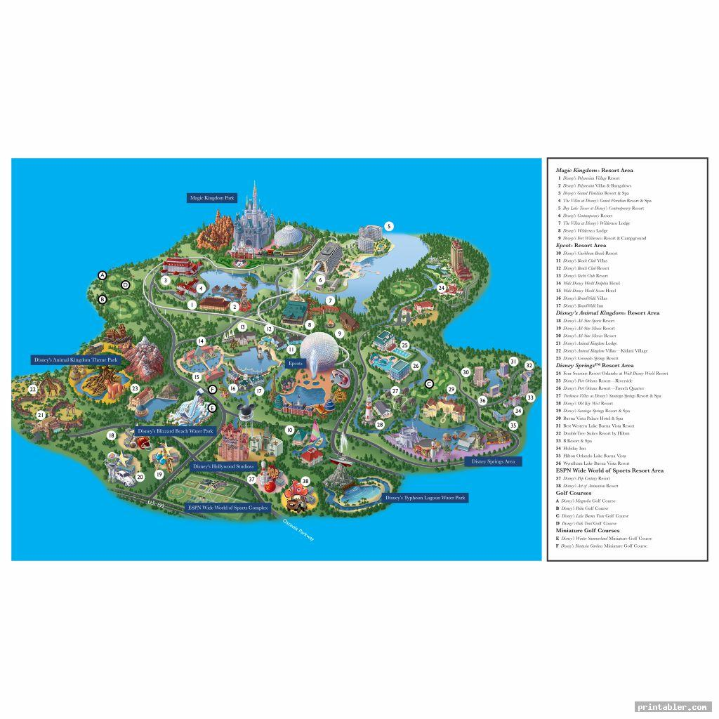 walt disney world map printable image free