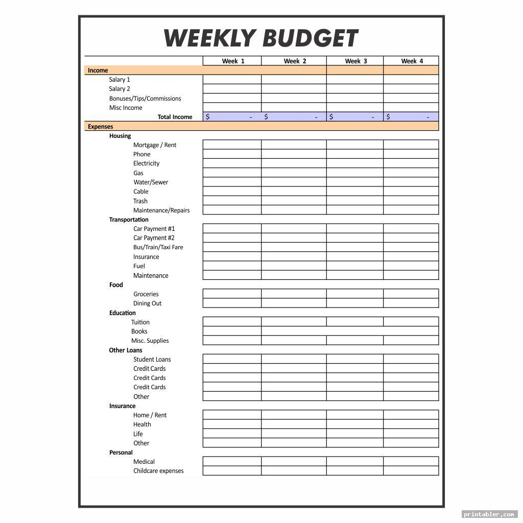 weekly budget worksheet printable template for use