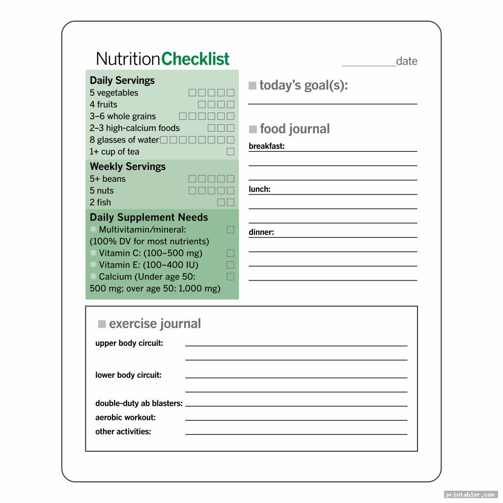 weight loss journal printable template image free