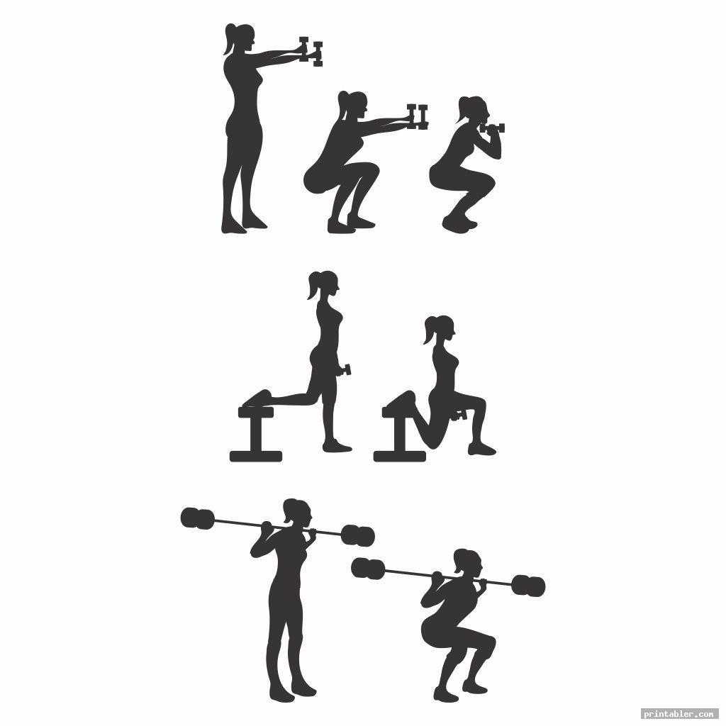 women dumbbell exercises chart printable pdf