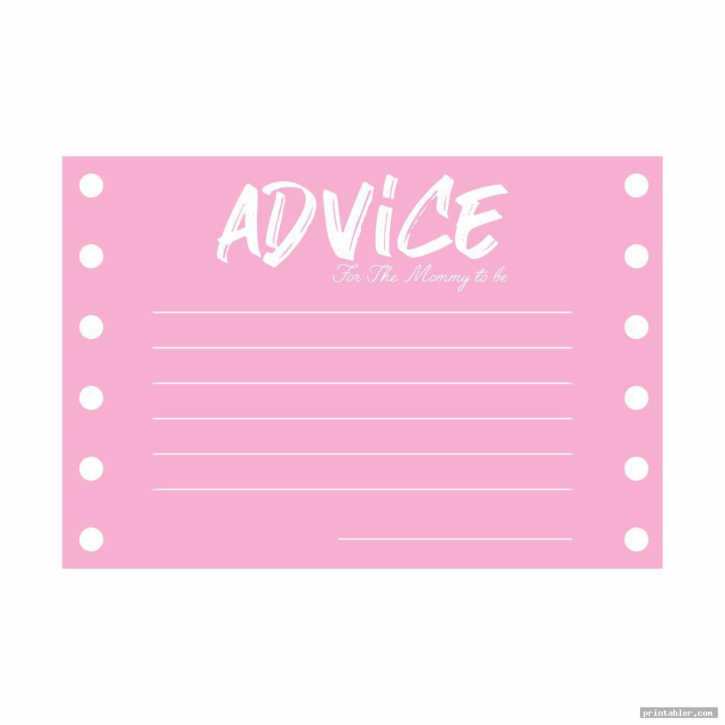 basic baby advice cards printable