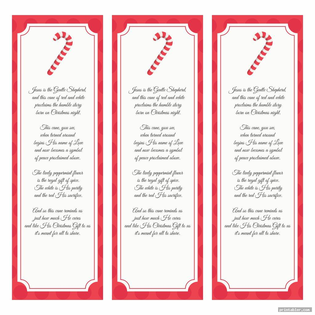 Legend of The Candy Cane Bookmark Printable
