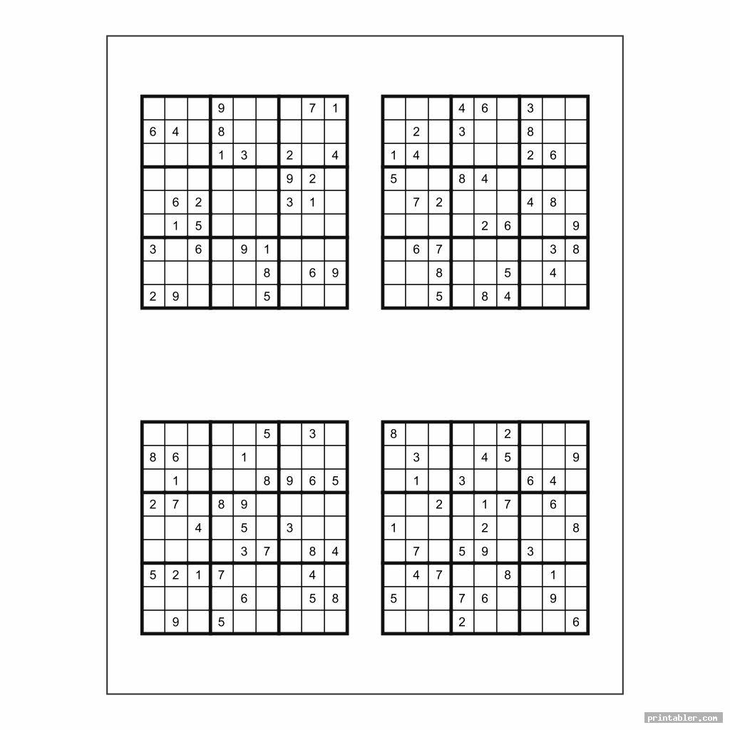 basic medium printable sudoku puzzles 4 per page