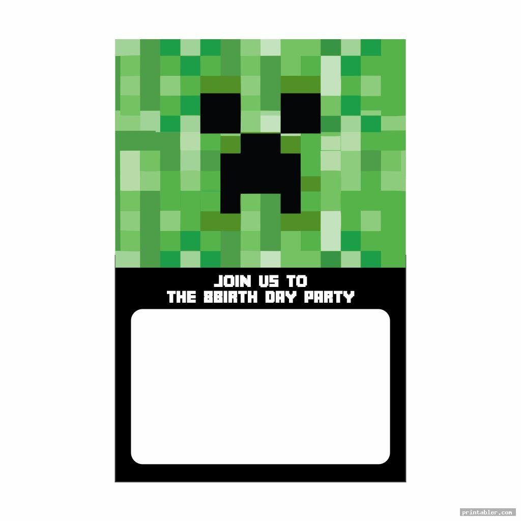 basic minecraft party invitation template printable