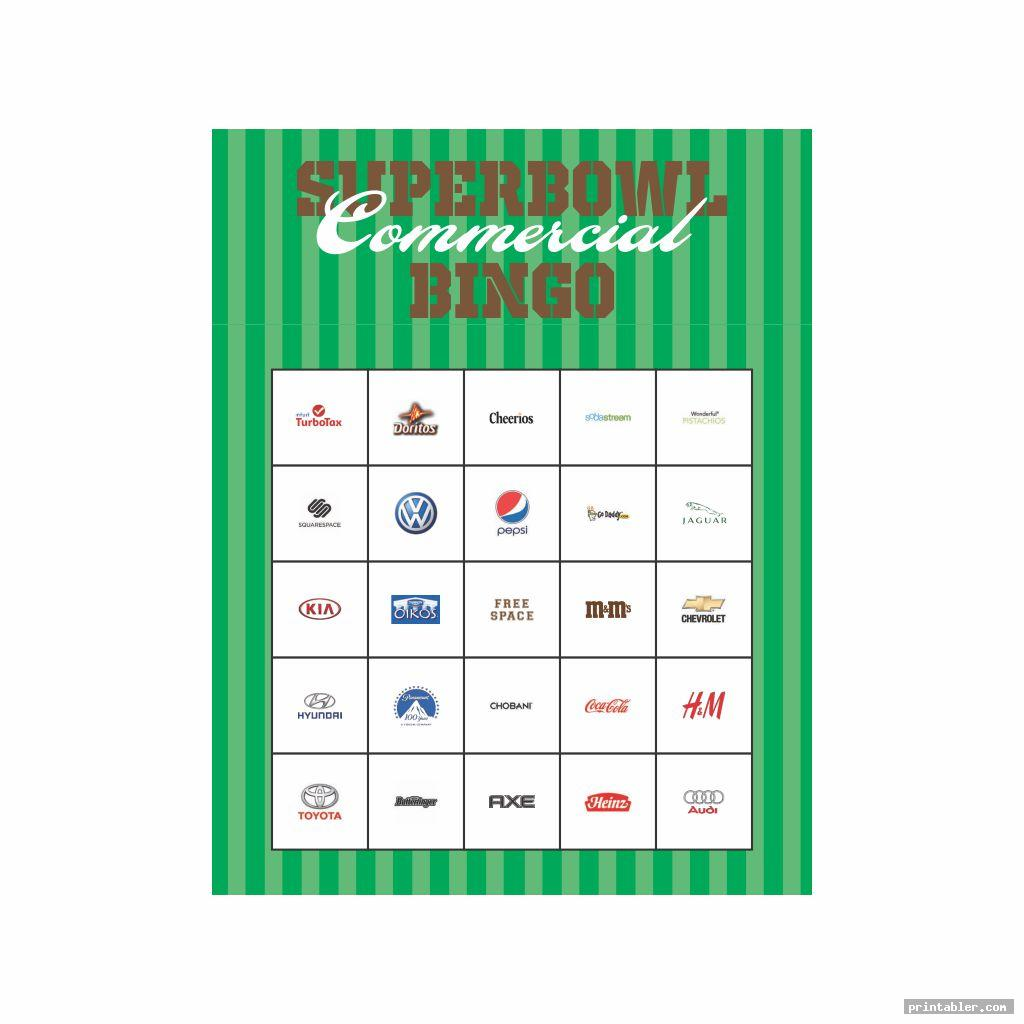 Printable 2015 Super Bowl Commercial Bingo