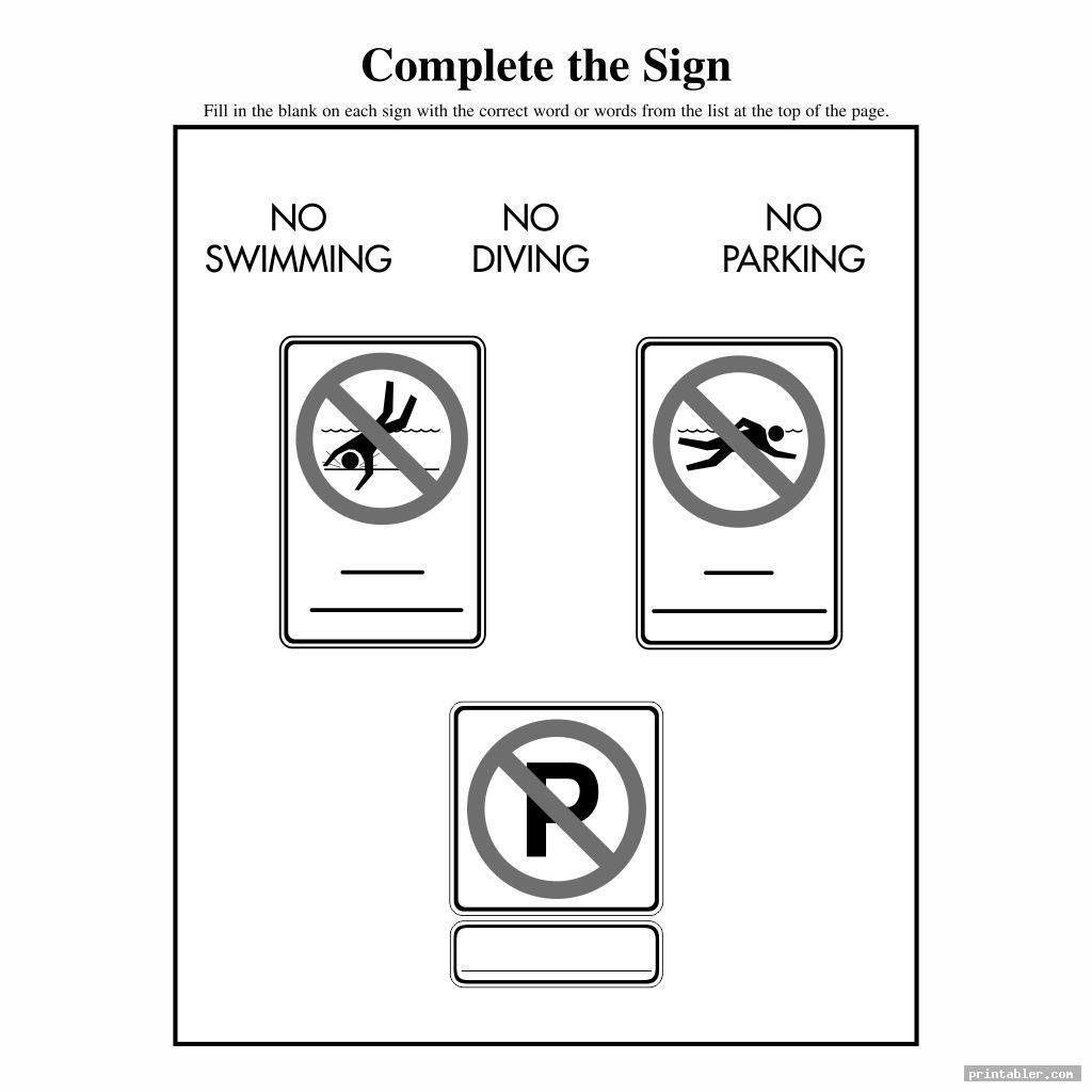basic survival signs worksheets printable